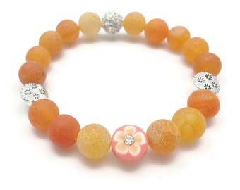 Frost Agate Bracelet, Orange Bracelet, Agate Jewelry, Semiprecious Stones, Stretch Bracelet, Gift for Her