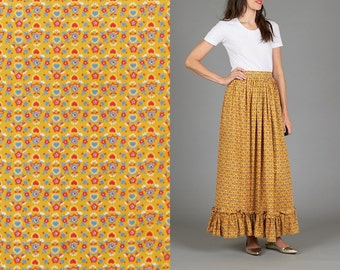ON SALE Vintage 70s Ruffled Mustard Maxi Skirt