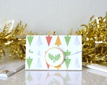 DIY Foil Trees Gift Card Holders (Digital File): foe metallic design, modern christmas tree, holly button, gift for teacher - LRD017DD