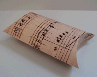 Pillow Box with Vintage Music Print (Pack of 10) Favor/Favour Pouch Wedding Box pbvl30