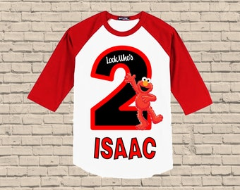 Elmo Birthday Shirt - Raglan Shirt Available