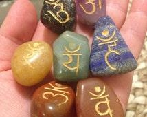 Item 12, 7 Chakra Stone Set, Tumbled Chakra Stones, Chakra Stones, Engraved Chakra Stones, Reiki Stones, Reiki Stone Set, Chakras
