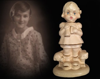 Price Reduced! Hand Painted Vintage Chalkware Figurine--Crying Girl with Kitten and Puppy