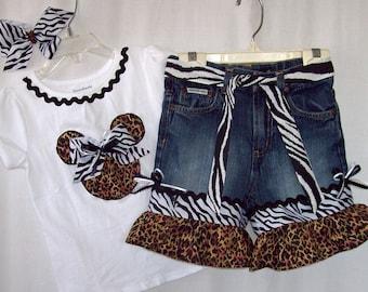 Custom boutique girls Disney Minnie Mickey Leopard Zebra Safari Animal Kingdom jeans set all sizes available