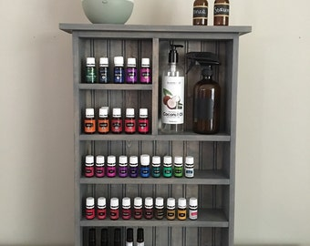Essential Oil Wall Shelf, Essential Oil Storage, Wall Shelf, Bathroom Shelf, Grey Essential Oil Cabinet