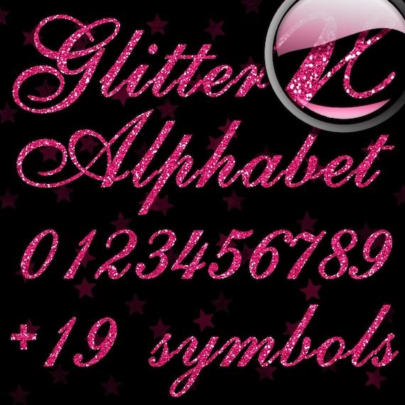 Pink Glitter Alphabet, Digital Glitter Alpha, Pink Digital Alphabet Letters, Pink Glitter Letters, Large Glitter Letters,  Design #125