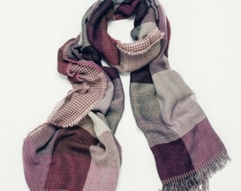 Helen beautiful purple and grey checked scarf