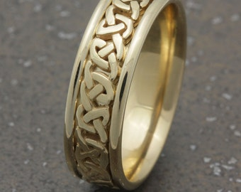 7mm 14K Yellow Gold Celtic Center, Comfort Fit Wedding Band, Gold Rings, Infinity Knot Rings,