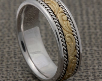 7mm Two Tone 14K Yellow Gold /White Gold Wedding Band, Paisley Design Floral, High Polished Finish, Sand finish, Rope Twist, Comfort Fit