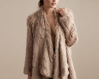 Rabbit Fur Jacket, Genuine Fur Coat, Brand New, Camel Rabbit Fur Jacket called Klara
