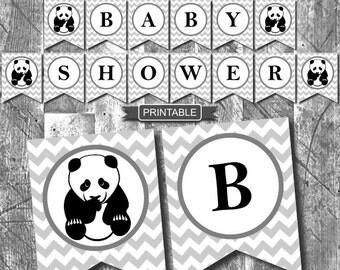 Light Grey Chevron Panda Baby Shower Decorations Banner Garland Bunting  Digital Gender Neutral Printable PDF Instant