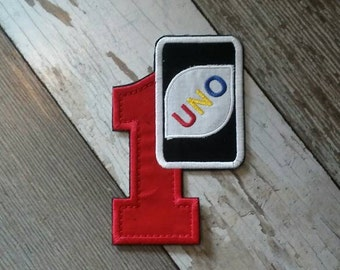 UNO Inspired and Red Number One Applique Iron on Patch.