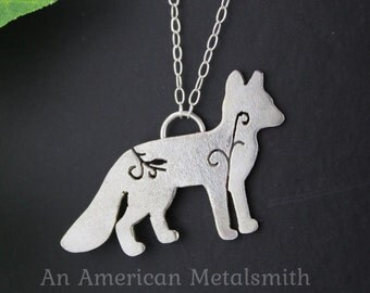 Sterling Silver, Fox, Charm, Necklace, Pendant, Handmade