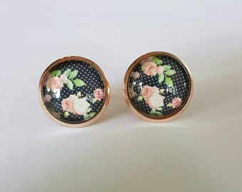 Black floral glass cabochon rose gold stud earrings.