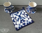 Tapestry Crochet Potholder Pattern Delft blue