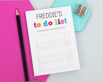 A6 Colourful To Do List Notepad - Personalised Notepad - Personalised Stationery - Note Card