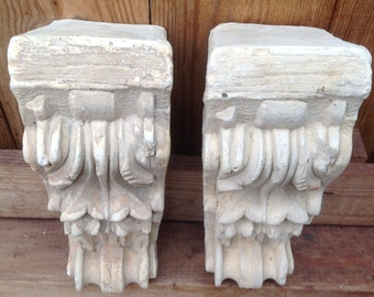 Vintage Architectural Salvage Corbels/Vintage Wall Decor/Shelf Bracket/Antique Bookends/Vtg Ornate Wall Sconces/Wall Scroll/Cement Corbel