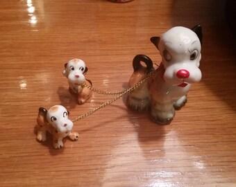 Vintage mid century dog with puppies porcelain figurine