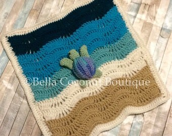 Crochet Sea Turtle Blanket, Crochet Sea Turtle Lovey, Sea Turtle, Ocean Blanket, Ocean Lovey, Beach Blanket, Crochet Turtles, Turtle Toy
