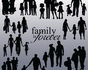 12 Family Silhouette Images, Digital Clipart Images, Clipart Design Elements, Instant Download, Black Silhouette Clip art