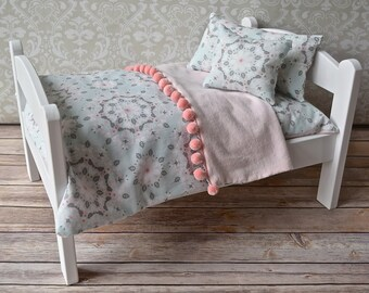 American Girl Doll Bed-Pink and Gray