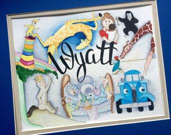 Children's Books Nursery Decor. Personalized Children's Classics Watercolor