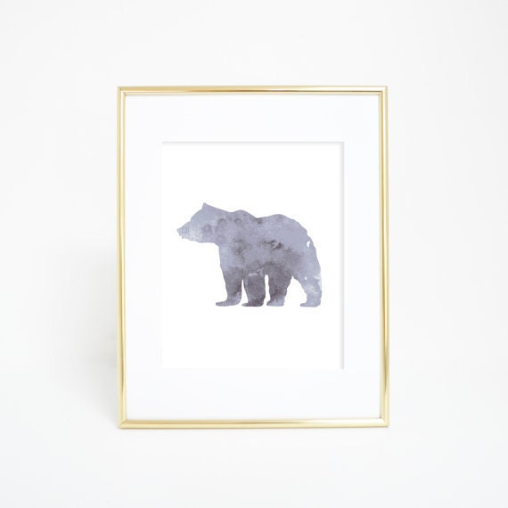 Gray Bear Print, Bear Art Print, Bear Print, Gray Print, Gray Decor, Woodland Decor, Woodland Print, Bear Artwork, Office Decor, Office Art