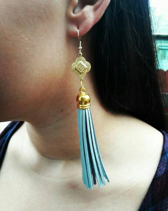 Gorgeous Brass and Tassels  earrings, long earrings, Tassel earrings, gift for Her