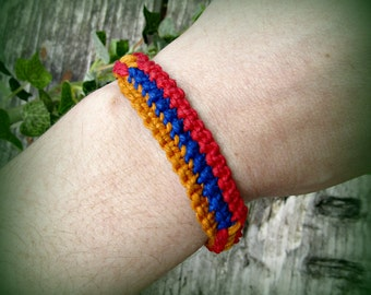 Hemp Armenian Flag Bracelet - Armenia Adjustable Bracelet - Red, Blue, Orange Patriotic Armenian Jewelry