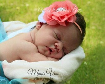 Tropical Headband, Hawaiian Headband, Baby Headband, Large Flower Headband, Newborn headband, Flower headband