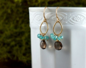 Smoky Quartz and Apatite Earrings,  November Birthstone, Dangle and Drop Earrings, Dainty Earrings,Cluster Earrings, Apatite Earrings