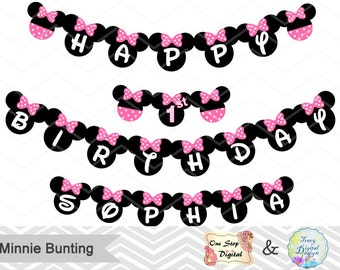Instant Download Minnie Bunting, Printable Minnie Banner, Pink and Black Minnie Birthday Party Banner, Printable Minnie Party Banner, 00021