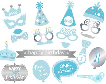 Printable 1st Boy Birthday Party Photo Booth Props, Boy 1st Birthday Photo Booth Props, Baby Boy Blue and Silver Birthday Props, 00416