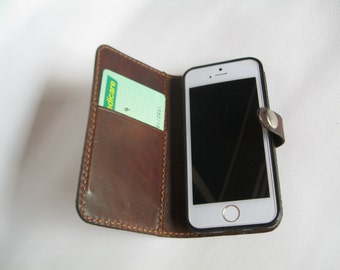 Handmade Leather iPhone 5 Wallet - Dark Brown
