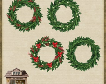 4 Beautiful PNG Christmas Wreath Garland Circles *Instant Download*