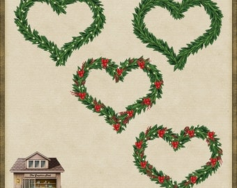 4 Cute Christmas Garland Wreath Hearts PNG *Instant Download*