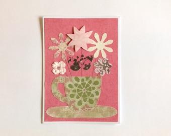 Mother's Day card, kitchen tea card, bridal shower, flower card, female birthday card, tea cup card, greeting card, friendship card