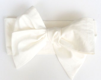 Classic white baby headwrap - headband - toddler cotton fabric head wrap