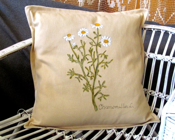 Pillow . Hand-painted,  Camomile. colours; beige , white, green, yellow. unique pillow. Ready to ship.