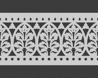 Reusable Traditional Border Stencil, Horizontal Seamless Repeat Pattern. SKU: S0117