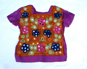 Girl's Purple Satin Top with hand embroidery and mirrors