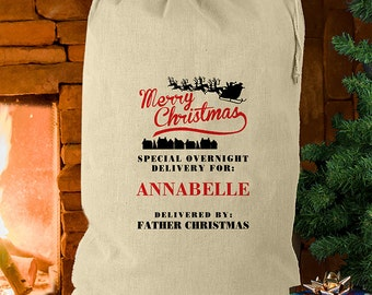 Merry Christmas Cotton Sack