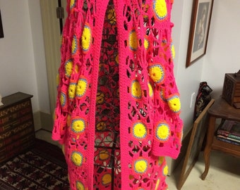 Crocheted Granny Square Duster, size L