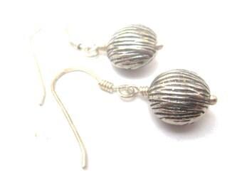 Stripes - Bali Silver Drop Earrings