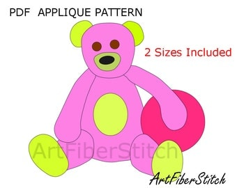 Teddy  PDF Applique Template Pattern - available for instant download from ArtFiberStitch