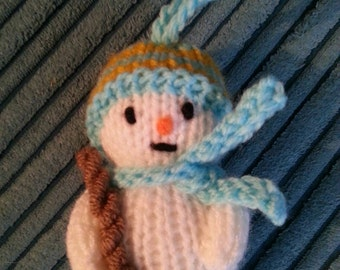 Handmade knitted Snowman Christmas tree decoration