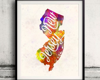 New Jersey - Map in watercolor - Fine Art Print Glicee Poster Decor Home Gift Illustration Wall Art USA Colorful - SKU 1755