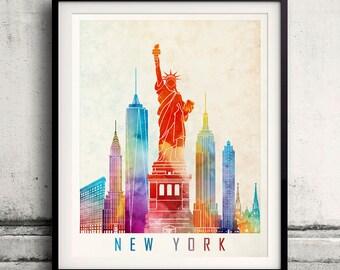 New York landmarks watercolor poster - Fine Art Print Landmarks skyline Poster Gift Illustration Artistic Colorful Landmarks - SKU 1998