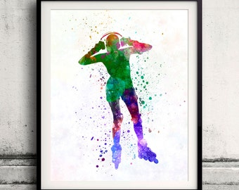 Woman roller skater inline 04 in watercolor - poster watercolor wall art splatter sport illustration print Glicée artistic - SKU 2052