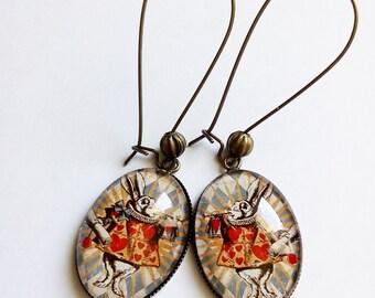 Earrings * White Rabbit Alice * style retro, cabochon glass